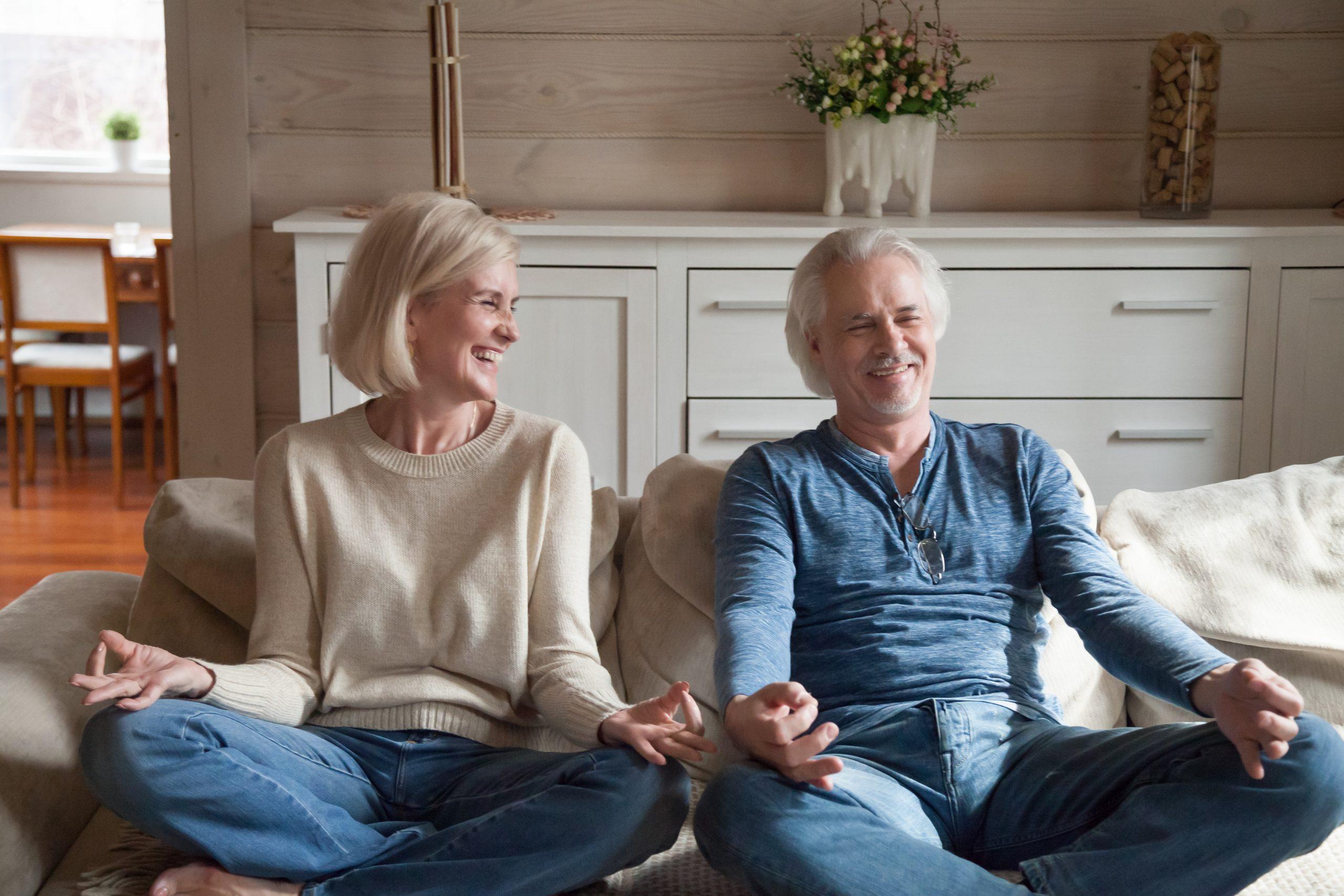 Seated yoga couple