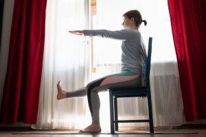 woman chair yoga